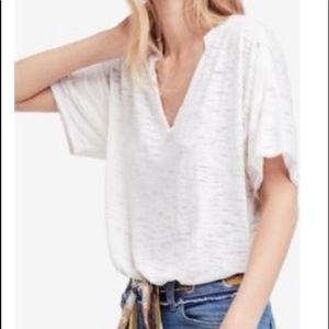 Free People Maddie Oversized White Burnout T-Shirt